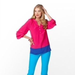 LILLY PULTIZER Elsa Top Silk Colorblock Pink {H14}